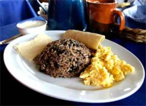 Gallo pinto and eggs from Costa Rica